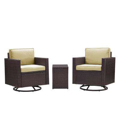 Palm Harbor 3-Piece Wicker Patio Outdoor Conversation Set with Sand Cushions -2 Swivel Chairs and Side Table