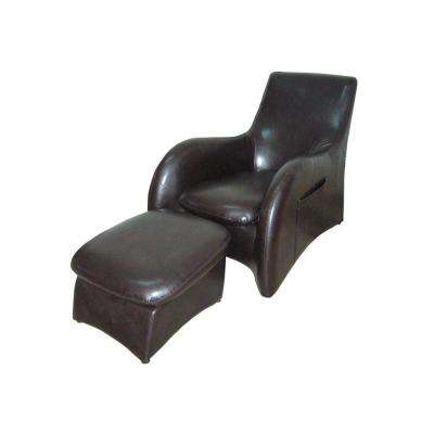 Black Leather Arm Chair with Ottoman