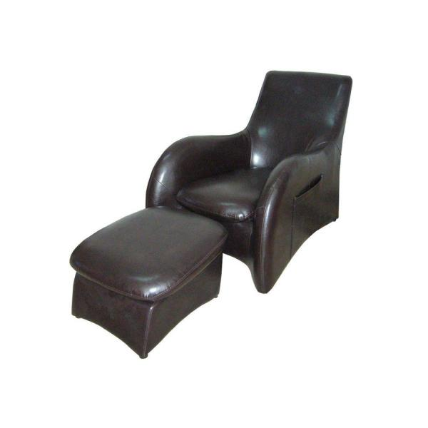 ORE International Black Leather Arm Chair with Ottoman HB4172