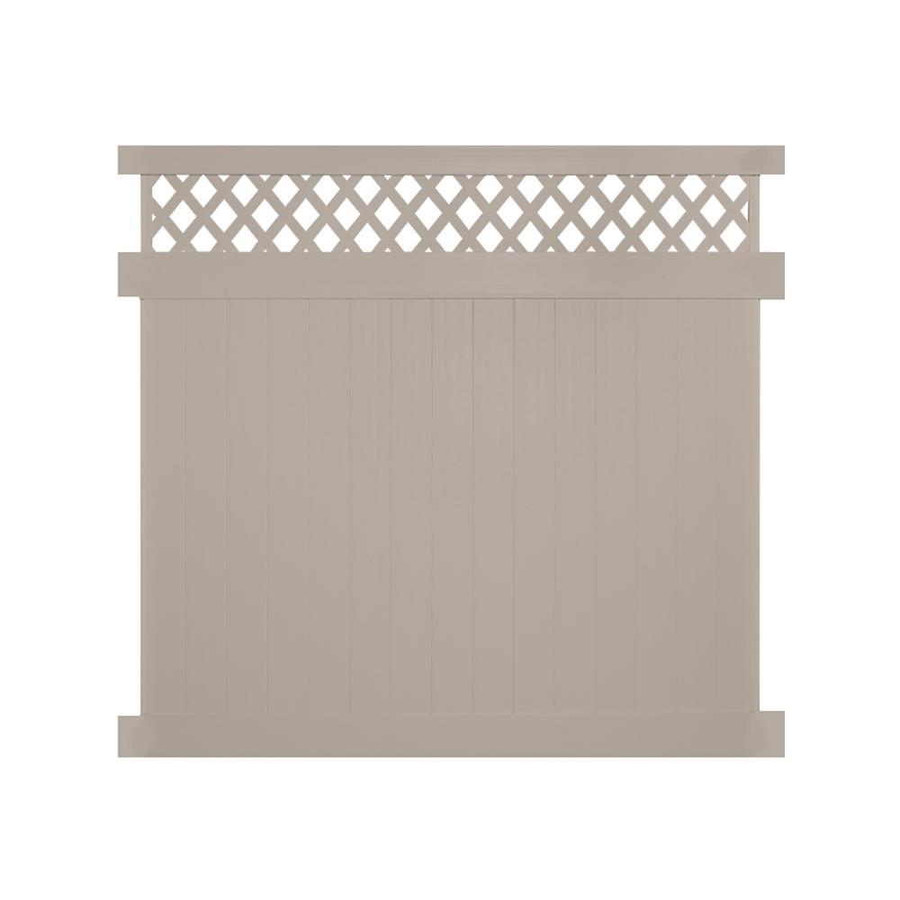 Ashton 6 ft. H x 6 ft. W Khaki Vinyl Privacy Fence Panel Kit