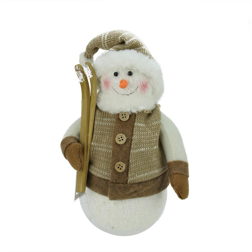 10 in. Alpine Chic Brown and Beige Snowman with Skiis and