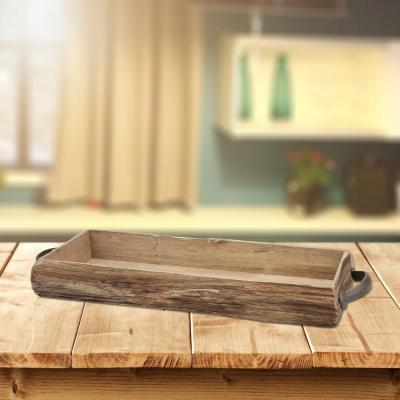 Brown Wooden Bark Tray with Metal Handles