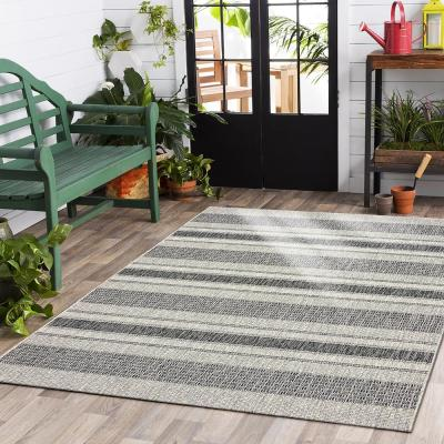 Sun Shower Gray/Black 5 ft. x 8 ft. Indoor/Outdoor Rectangular Area Rug