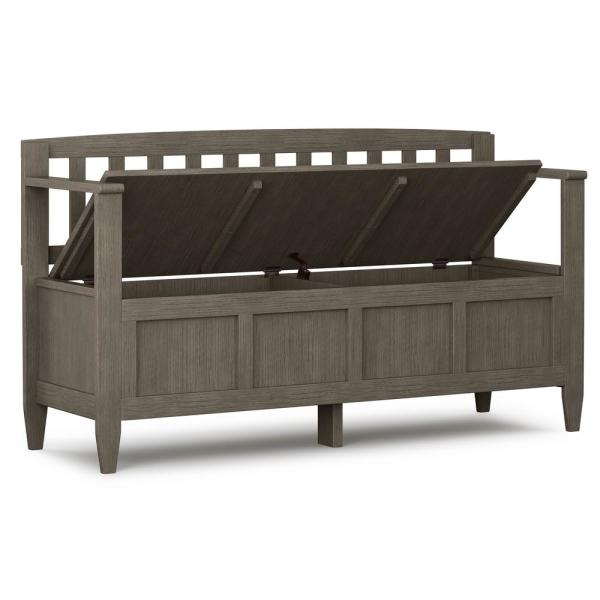 Simpli Home Brooklyn Farmhouse Grey Solid Wood 48 In Wide Contemporary Entryway Storage Bench Axcbroben Fg The Home Depot
