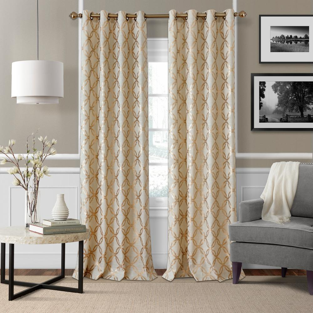panels curtain dp trellis amazon design silver com w home single textured x beige moroccan sheer embroidered window grommets ivory