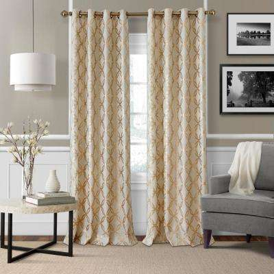 Zelda Metallic Copper Printed Single Window Curtain Panel - 50 in. W x 95 in. L
