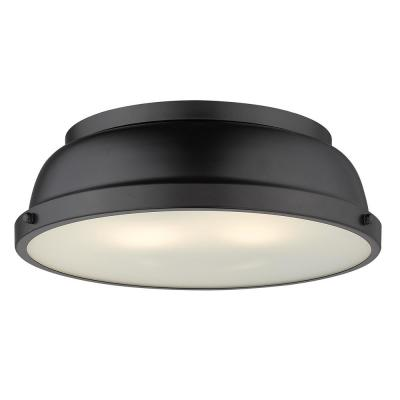 Duncan 2-Light Black Flush Mount with Matte Black Shade