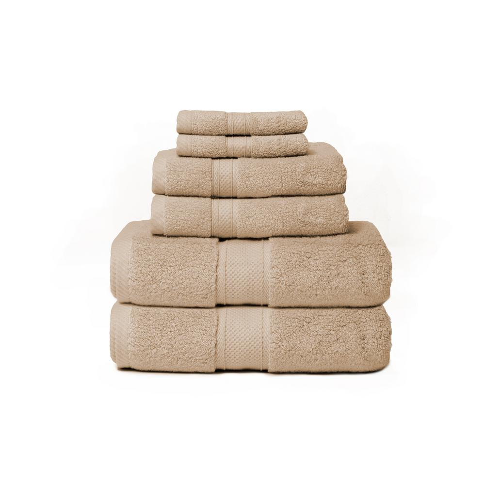 Hotel Zero Twist 6-Piece 100% Cotton Bath Towel Set in Flax