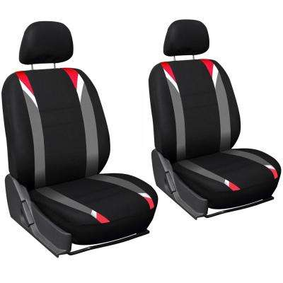Polyester Seat Covers Set 26 in. L x 21 in. W x 48 in. H 6-Piece Seat Cover Set Red, Gray, and Black