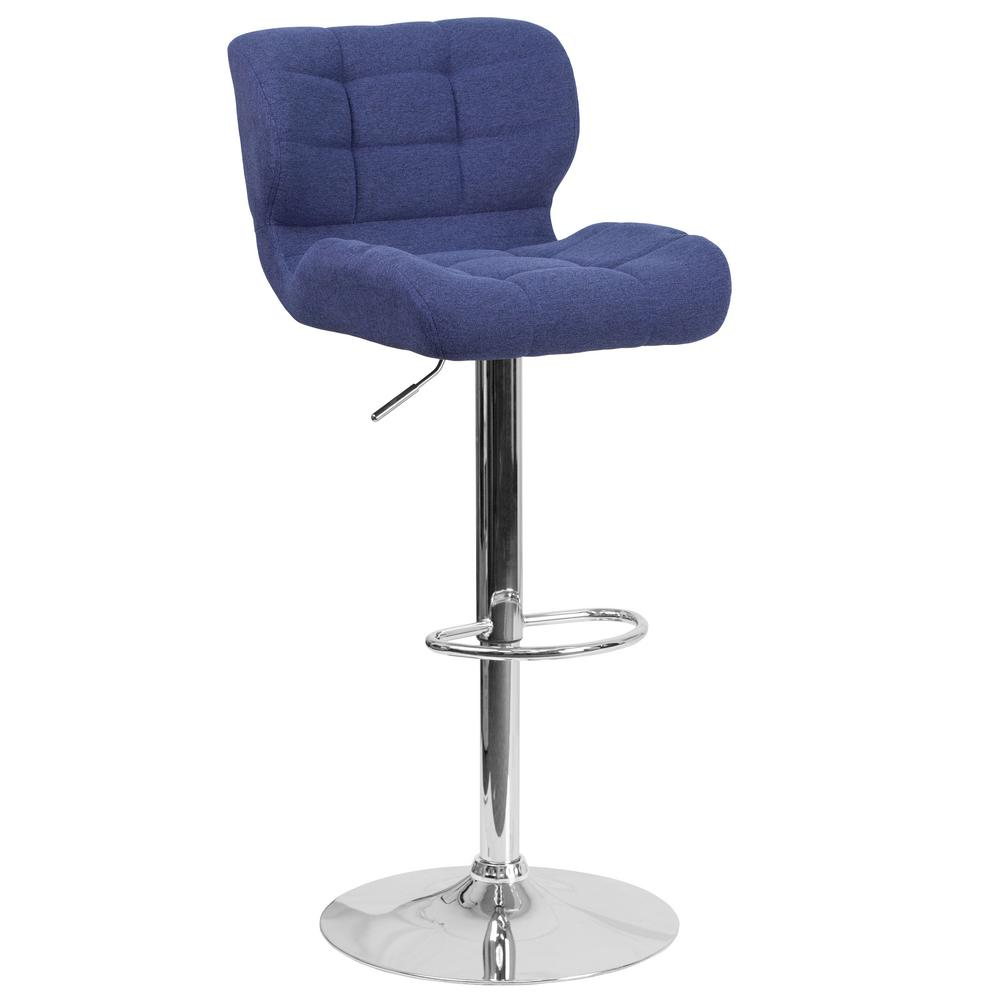 Adjustable Height Blue Cushioned Bar Stool