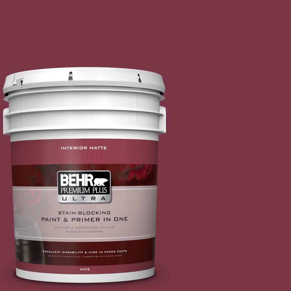 BEHR Premium Plus Ultra 5 gal. #S-H-110 Wine Tasting Flat/Matte Interior Paint, Reds/Pinks