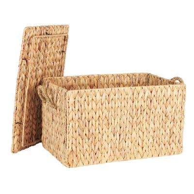 12.2 in. x 20 in. Water Hyacinth Small Rectangular Chest and Box with Lid