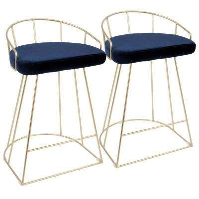 Canary Contemporary Gold and Blue Counter Stool Velvet (Set of 2)
