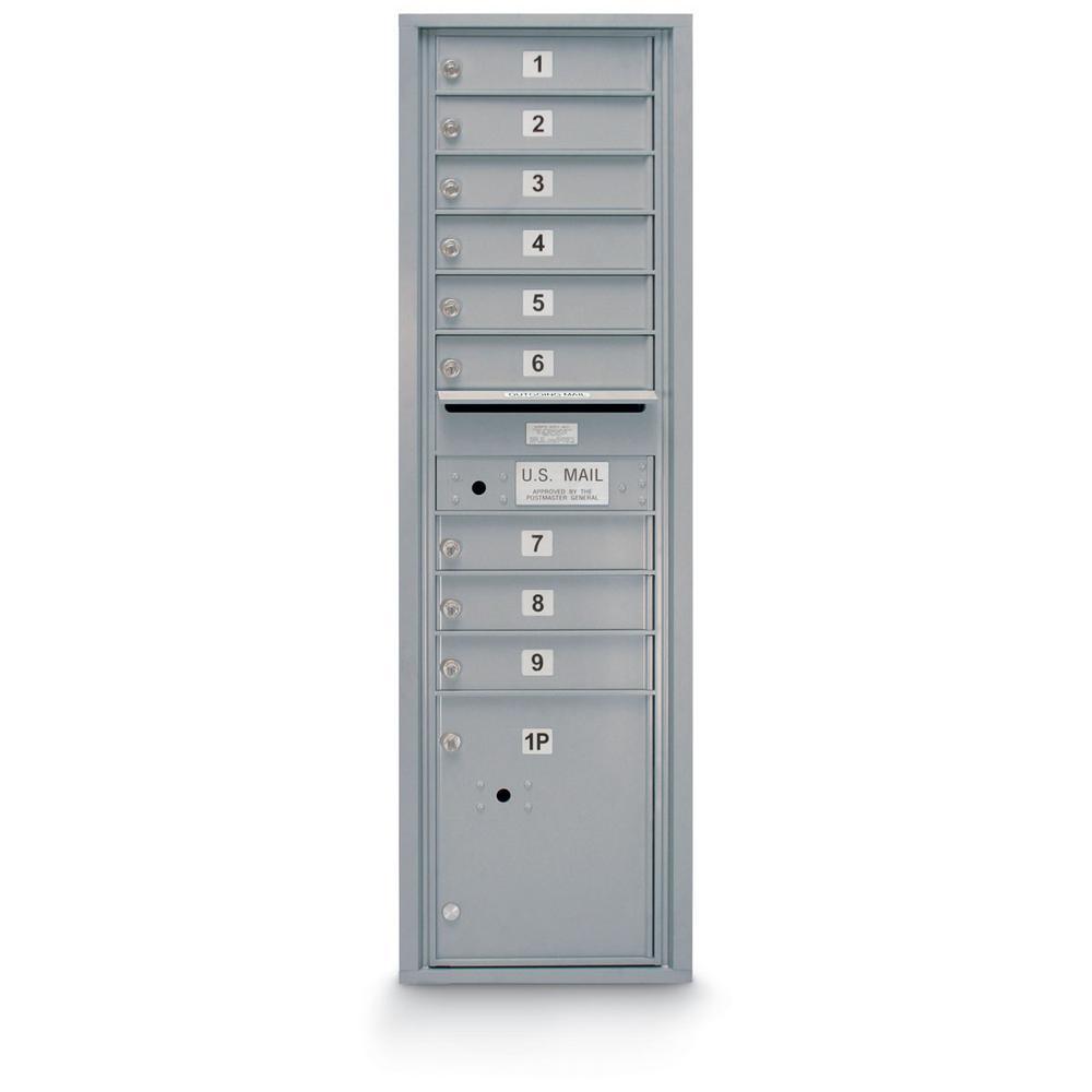 9-Door Standard 4C Front Loading Mailbox (Silver)