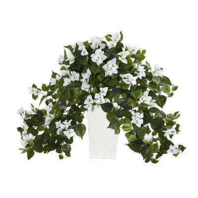 Bougainvillea Artificial Plant in White Tower Planter