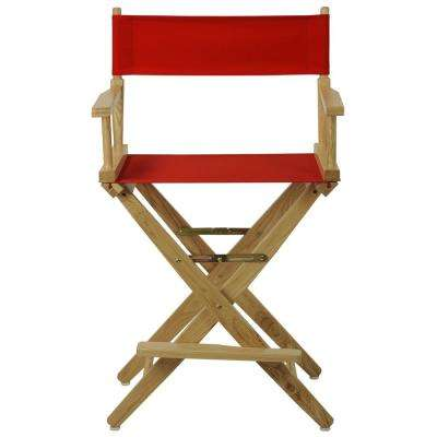 24 in. Extra-Wide Natural Wood Frame With Red Canvas Seat Folding Directors Chair