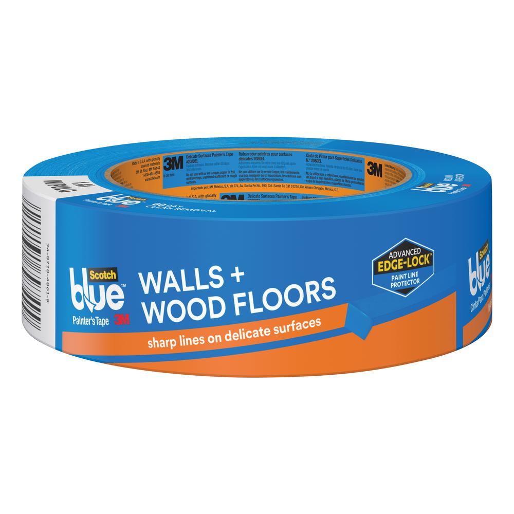 3M ScotchBlue 1.41 in. x 60 yds. Walls and Wood Floors Painter's Tape with Edge-Lock