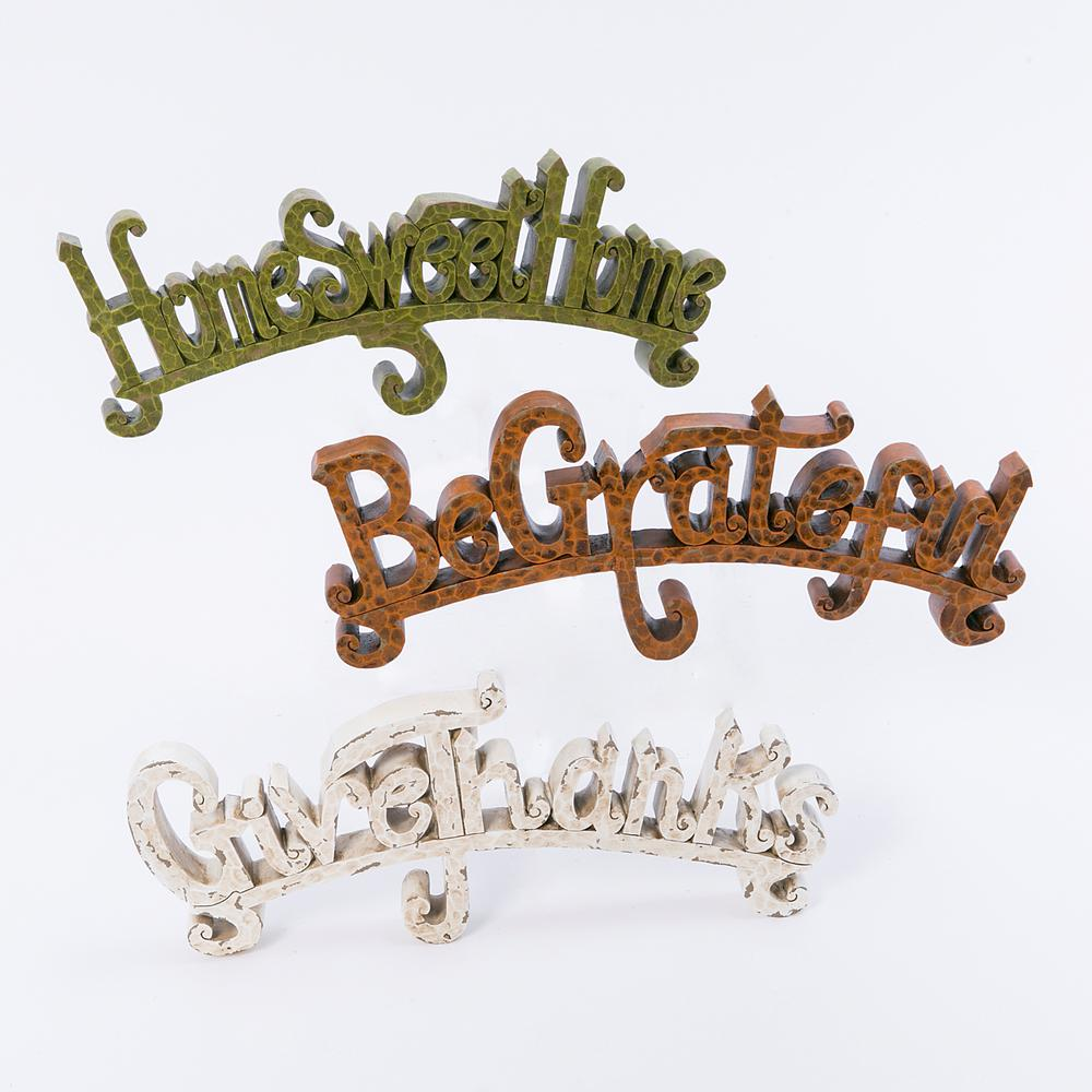 Gerson Assorted 5.91 in. H Resin Harvest Inspirational Phrases (Set of 3)