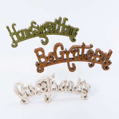 Assorted 5.91 in. H Resin Harvest Inspirational Phrases (Set of 3)