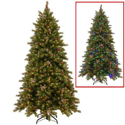 9 ft. PowerConnect Snowy Berry Artificial Christmas Tree with Dual Color LED Lights