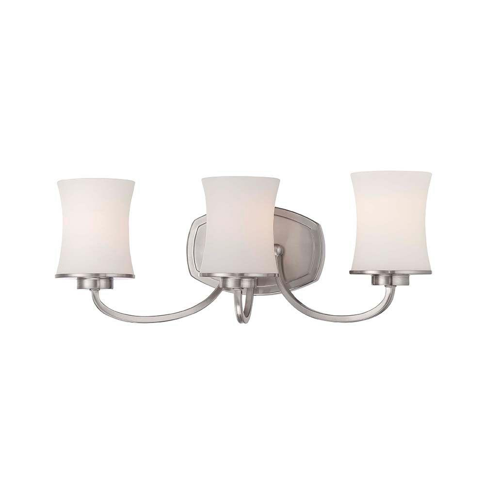 Hampton Bay Chaplinne Collection 3 Light Satin Nickel Vanity With Frosted White Shades