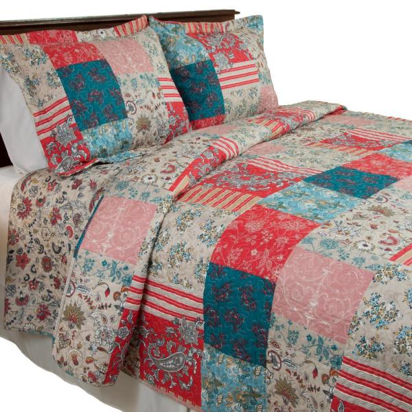 Lavish Home Mallory 3 Piece Red Queen Quilt Set 66 10039 Fq The Home Depot