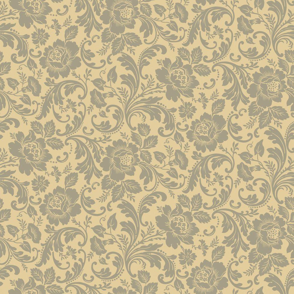 The Wallpaper Company 56 sq. ft. Grey And Beige Floral Fantasy Wallpaper