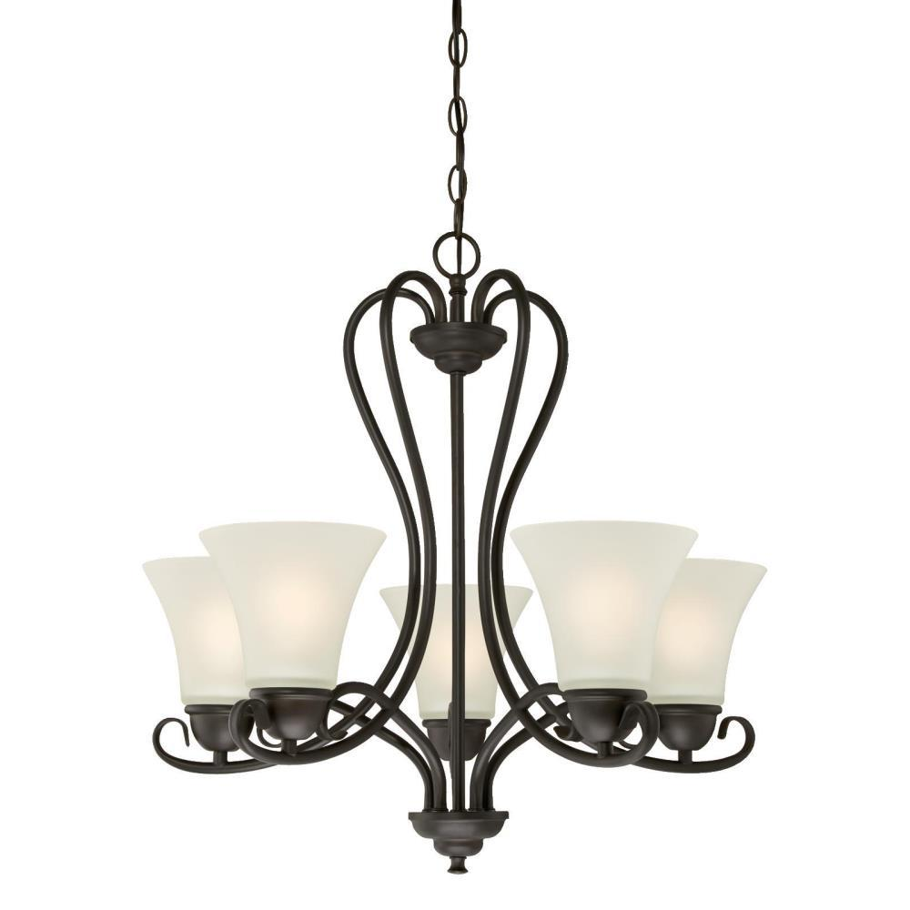 Westinghouse Dunmore 5 Light Oil Rubbed Bronze Chandelier With Frosted Glass Shades