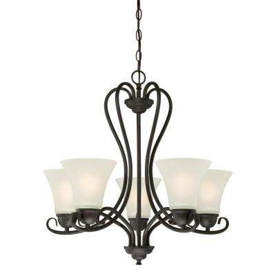 Dunmore 5-Light Oil Rubbed Bronze Chandelier with Frosted Glass Shades