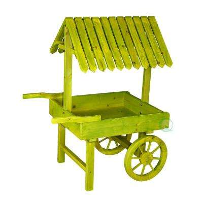 27.5 in. W x 18.5 in. D x 36.5 in. H Wooden Green Vendor Cart Planter