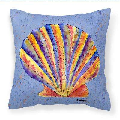 14 in. x 14 in. Multi-Color Lumbar Outdoor Throw Pillow Scalloped Shell on Blue
