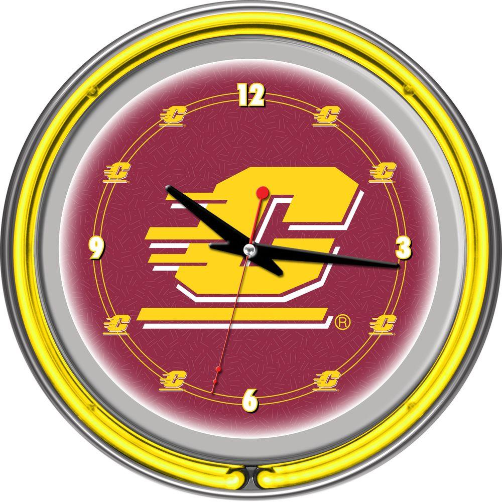Trademark Global 14 in. Central Michigan University Neon Wall Clock