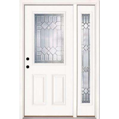 50.5 in.x81.625 in. Mission Pointe Zinc 1/2 Lite Unfinished Smooth Right-Hand Fiberglass Prehung Front Door w/ Sidelite