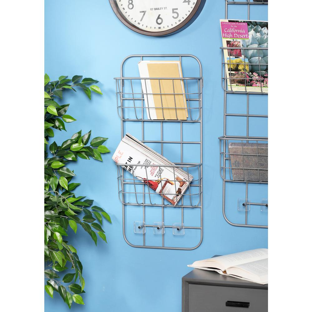 Gray Iron 2-Tiered Wall-Mounted Basket Rack with Hooks