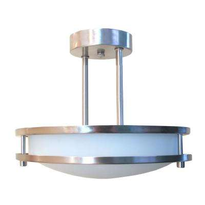 Saturn 2-Light Brushed Nickel Semi-Flushmount Light
