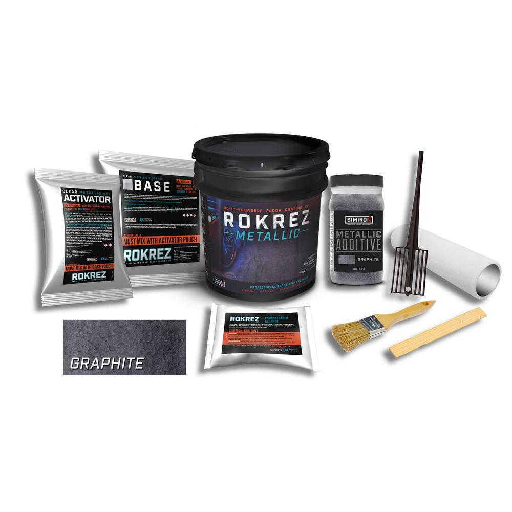 SIMIRON ROKREZ 128 oz. Graphite Gloss 125 sq. ft. Metallic DIY 2 Component 100% Solids All-In-One Epoxy Garage Floor Kit