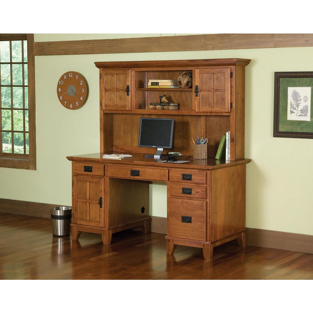 HOMESTYLES 500 in. Rectangular Cottage Oak 50 Drawer Computer Desk with Solid  Wood Material-50180-50 - The Home Depot