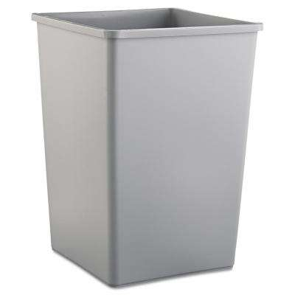 Untouchable 35 Gal. Gray Square Trash Can