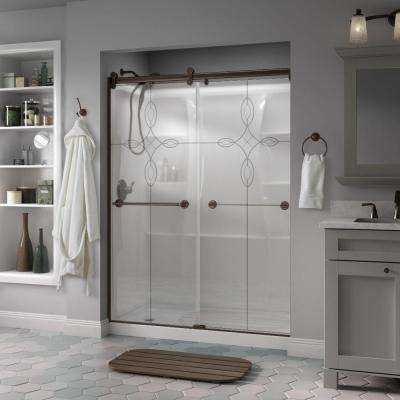 Silverton 60 in. x 71 in. Semi-Frameless Contemporary Sliding Shower Door in Bronze with Tranquility Glass