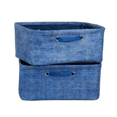 12 in. x 7 in. Storit Small Blue Polypropylene Nightstand Basket with Chambray Pattern (2-Pack)