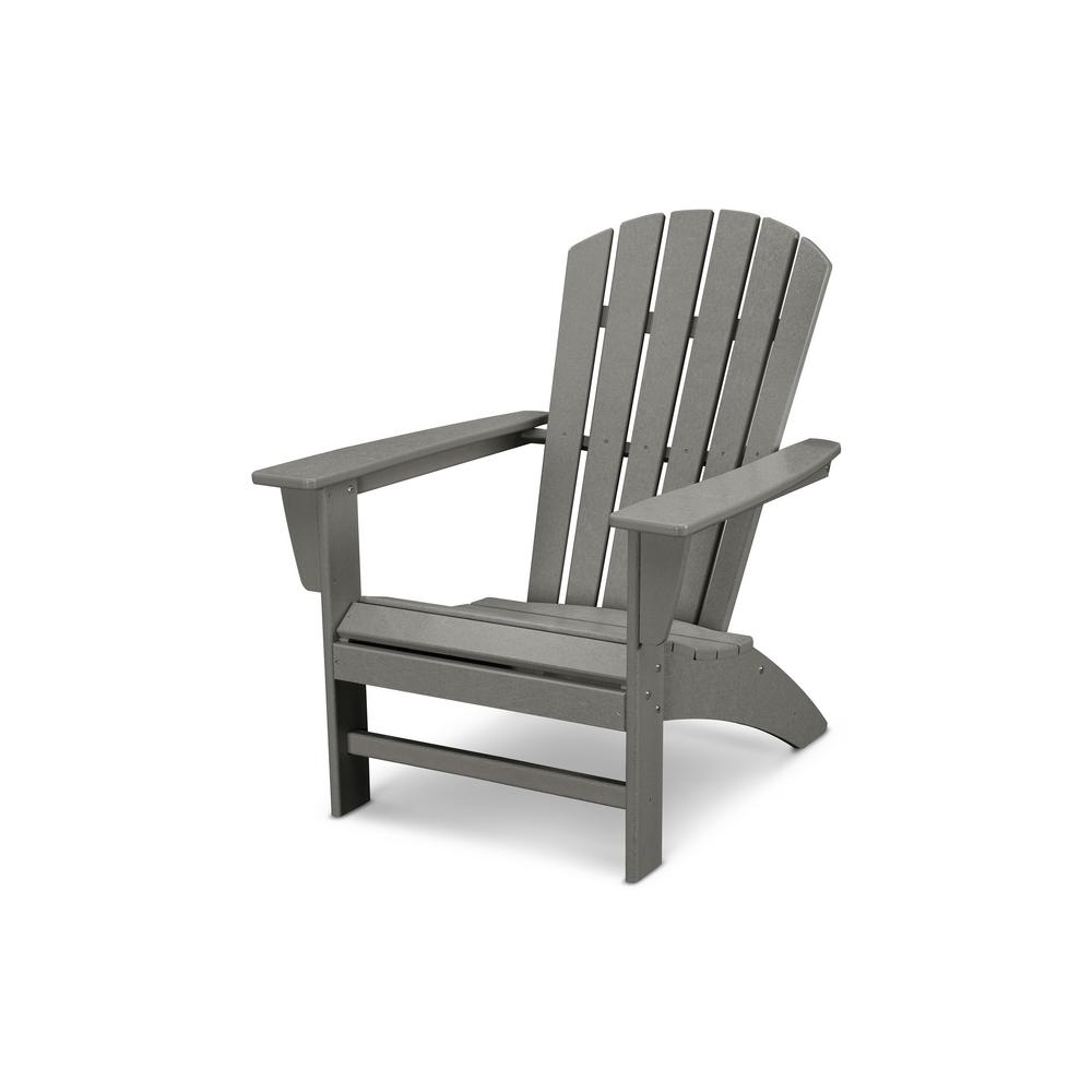 Traditional Curveback Slate Grey Plastic Outdoor Patio Adirondack Chair