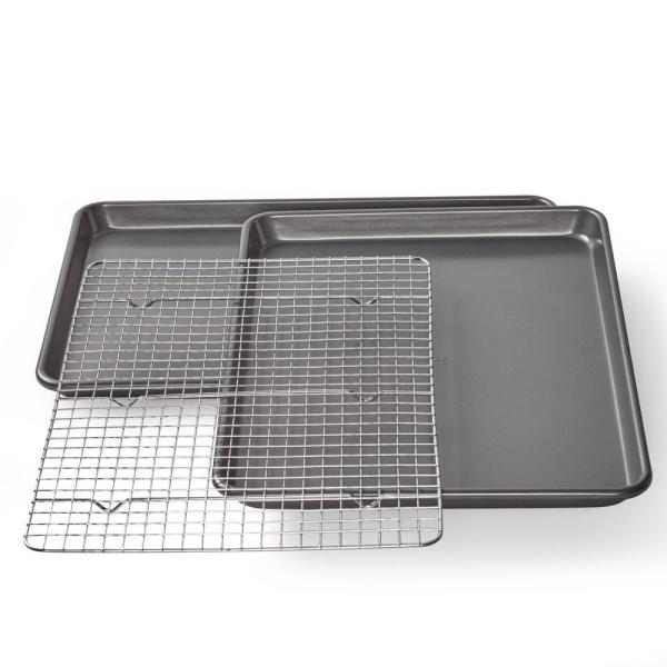 Professional Non-Stick Cookie/Jelly-Roll Pan Set with Cooling Rack