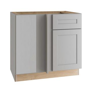 Tremont Assembled 42 x 34.5 x 24 in Plywood Shaker Blind Corner Base Kitchen Cabinet Lt Soft Close in Painted Pearl Gray