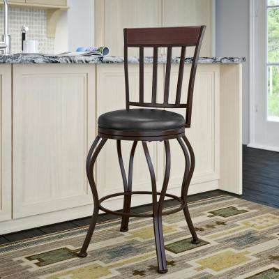 Jericho 26 in. Metal Bar Stool with Swivel Glossy Dark Brown Bonded Leather Seat
