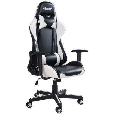 White High Back Gaming Chair with Lumbar Support and Headrest
