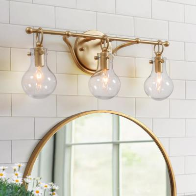 Ismo 20 in. 3-Light Gold Modern Wall Sconce Bath Light with Clear Glass Shades