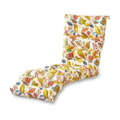 Esprit Floral Outdoor Chaise Lounge Cushion