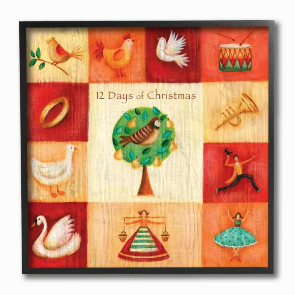 12 In X 12 In Holiday Twelve Days Of Christmas Patchwork Birds Instruments Rings By Artist A V Art Framed Wall Art