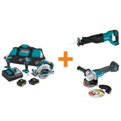 18-Volt LXT Lithium-Ion Brushless Cordless Combo Kit (3-Tool) with Bonus Reciprocating Saw and Angle Grinder