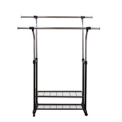 60 in. W x 69 in. H Metal Mobile Double Rail Clothes Rack with Utility Shelves
